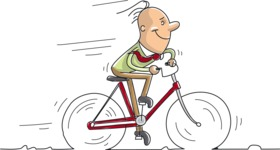 Cartoon Businessman Riding a Bike