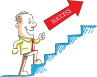 Cartoon Businessman on Stairs of Success