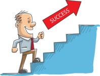 Businessman Climbing the Stairs of Success
