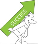 Outline Businessman Success Arrow