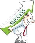 Cartoon Businessman Success Arrow