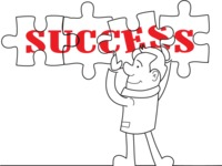 Outline Businessman Doing Success Puzzle