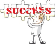 Cartoon Businessman Doing Success Puzzle