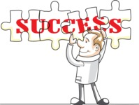 Businessman Doing Success Puzzle