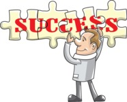 Businessman Finishing Success Puzzle