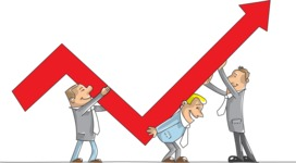 Group of Businessmen Holding Arrow Graph
