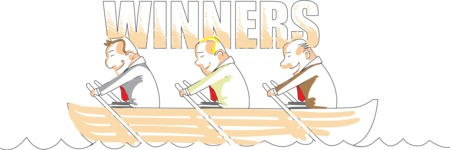Businessmen Winners on Boat