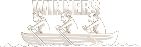 Monochrome Businessmen Winners on Boat