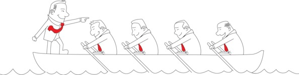 Leader Businessman and Team on Boat