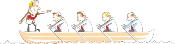 Businessman Leading Team on Boat