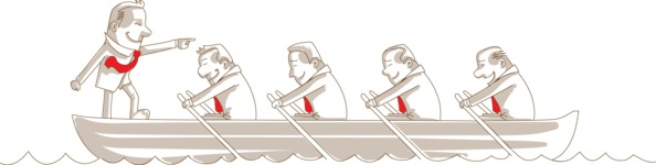 Monochrome Businessman and Team on Boat