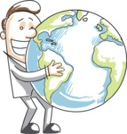 Cartoon Businessman Holding the Globe