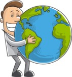Businessman Holding Globe Illustration