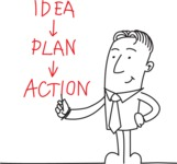 Businessman Drawing Idea Plan Action