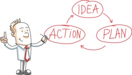Business Guy with Idea Plan Action