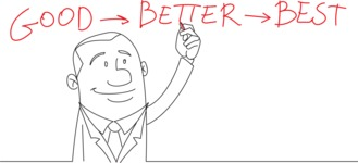 Businessman Drawing Good Better Best