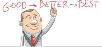 Motivated Businessman Drawing Good Better Best