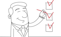 Happy Businessman Marking Checklist
