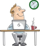 Businessman at Office Desk Illustration
