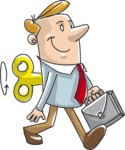 Wind-up Businessman Cartoon