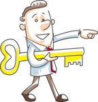 Cartoon Businessman Holding a Key
