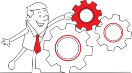 Outline Businessman Pushing Cogwheels