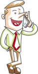 Cartoon Businessman Talking on the Phone