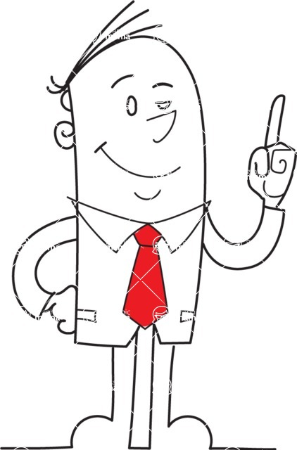 Business vector characters illustrated in the popular outline design trend - a rich collection from GraphicMama - Businessman Pointing Up Outline