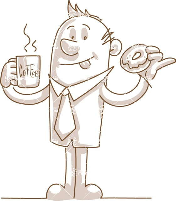 Business vector characters illustrated in the popular outline design trend - a rich collection from GraphicMama - Monochrome Businessman with Coffee and Donut