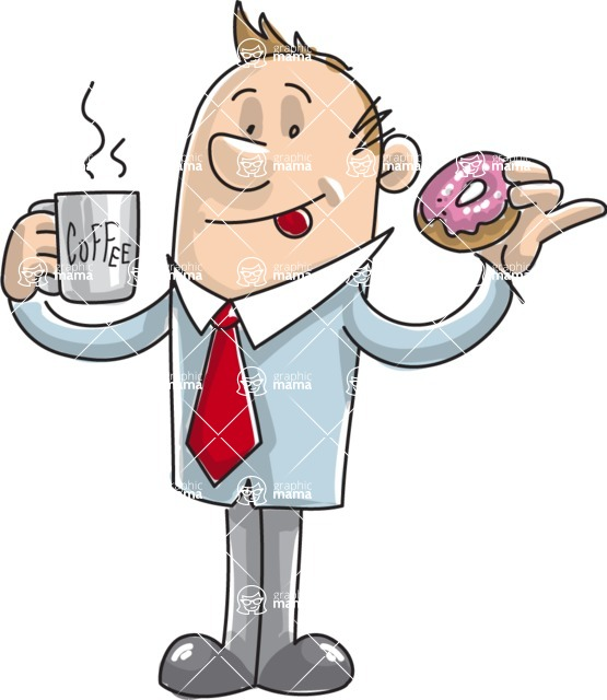 Business vector characters illustrated in the popular outline design trend - a rich collection from GraphicMama - Office Man with Coffee and Donut
