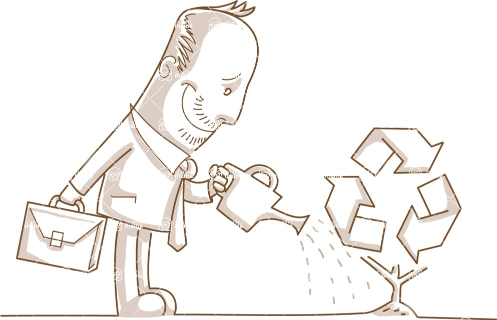 Business vector characters illustrated in the popular outline design trend - a rich collection from GraphicMama - Monochrome Businessman Watering a Recycle Plant