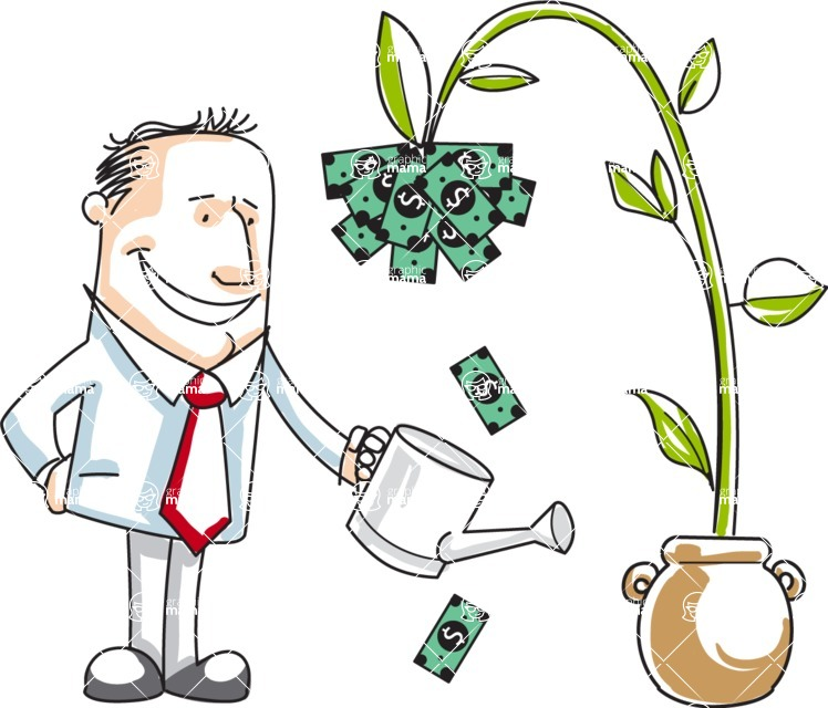 Business vector characters illustrated in the popular outline design trend - a rich collection from GraphicMama - Cartoon Businessman Watering a Money Plant