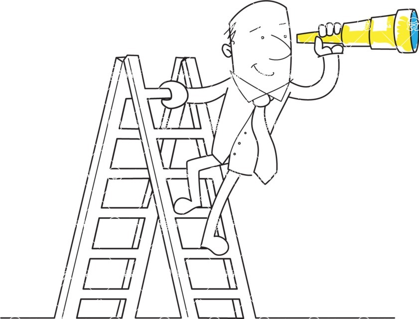 Business vector characters illustrated in the popular outline design trend - a rich collection from GraphicMama - Outline Businessman With Telescope