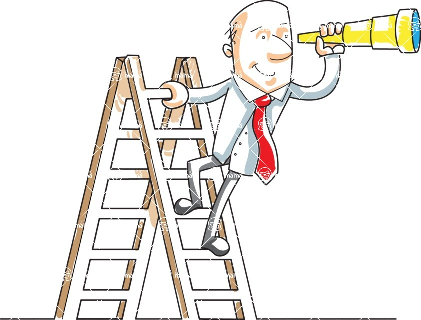 Business vector characters illustrated in the popular outline design trend - a rich collection from GraphicMama - Cartoon Businessman With Telescope