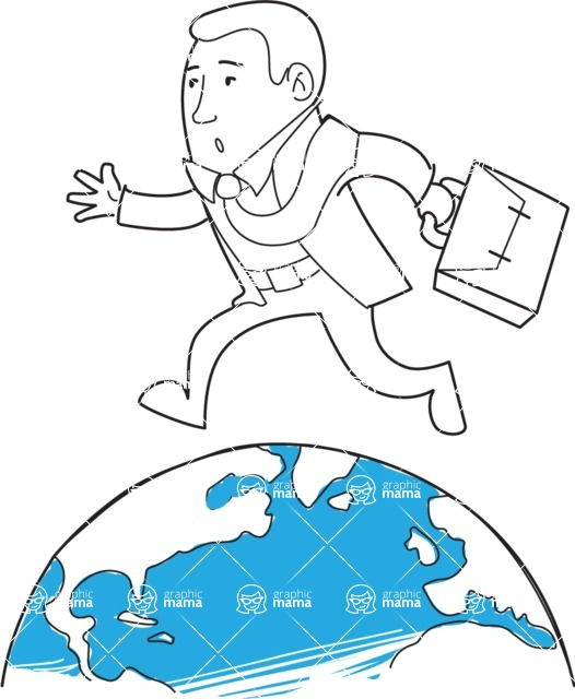 Business vector characters illustrated in the popular outline design trend - a rich collection from GraphicMama - Outline Businessman Running On Globe