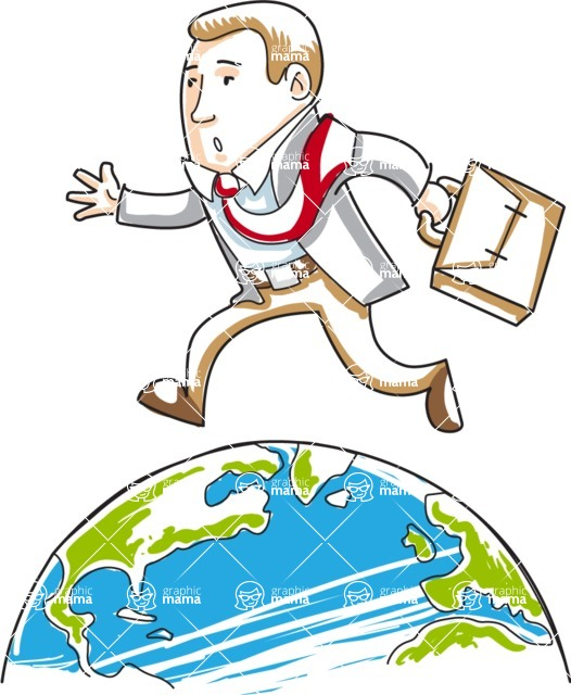 Business vector characters illustrated in the popular outline design trend - a rich collection from GraphicMama - Cartoon Businessman Running On Globe
