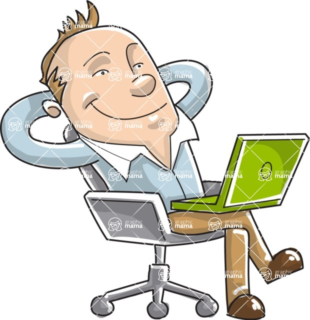 Business vector characters illustrated in the popular outline design trend - a rich collection from GraphicMama - Cartoon Businessman Relaxing in Chair