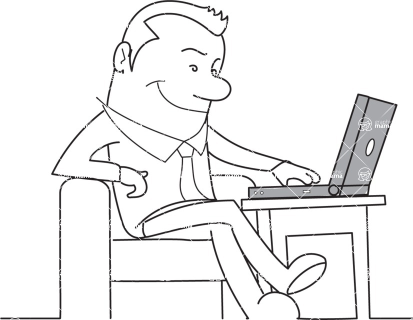 Business vector characters illustrated in the popular outline design trend - a rich collection from GraphicMama - Outline Businessman with Laptop