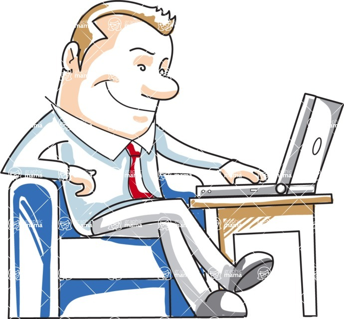 Business vector characters illustrated in the popular outline design trend - a rich collection from GraphicMama - Cartoon Businessman with Laptop