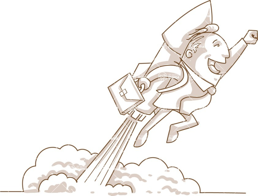 Business vector characters illustrated in the popular outline design trend - a rich collection from GraphicMama - Monochrome Businessman Flying With a Rocket