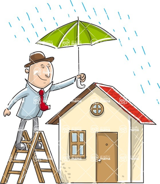 Business vector characters illustrated in the popular outline design trend - a rich collection from GraphicMama - Businessman Protecting Home from Rain