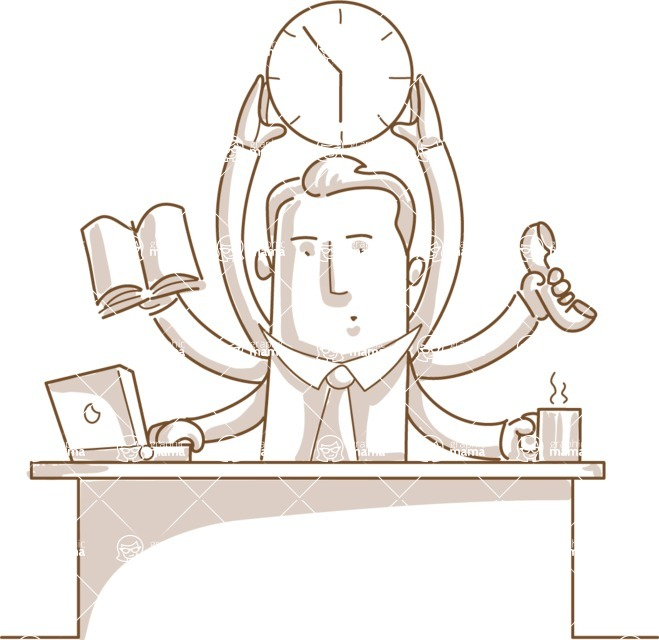 Business vector characters illustrated in the popular outline design trend - a rich collection from GraphicMama - Monochrome Businessman Multitasking