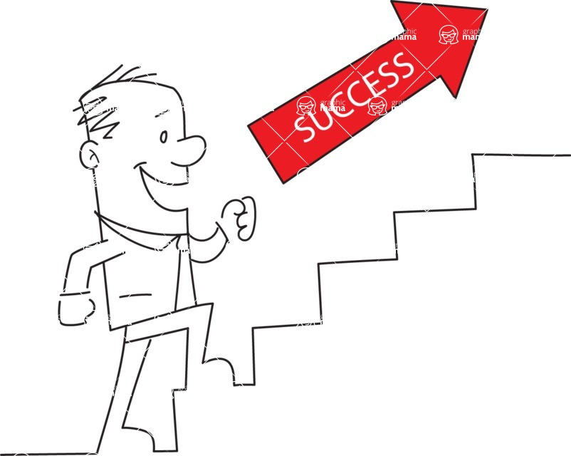 Business vector characters illustrated in the popular outline design trend - a rich collection from GraphicMama - Outline Man Climbing Stairs of Success