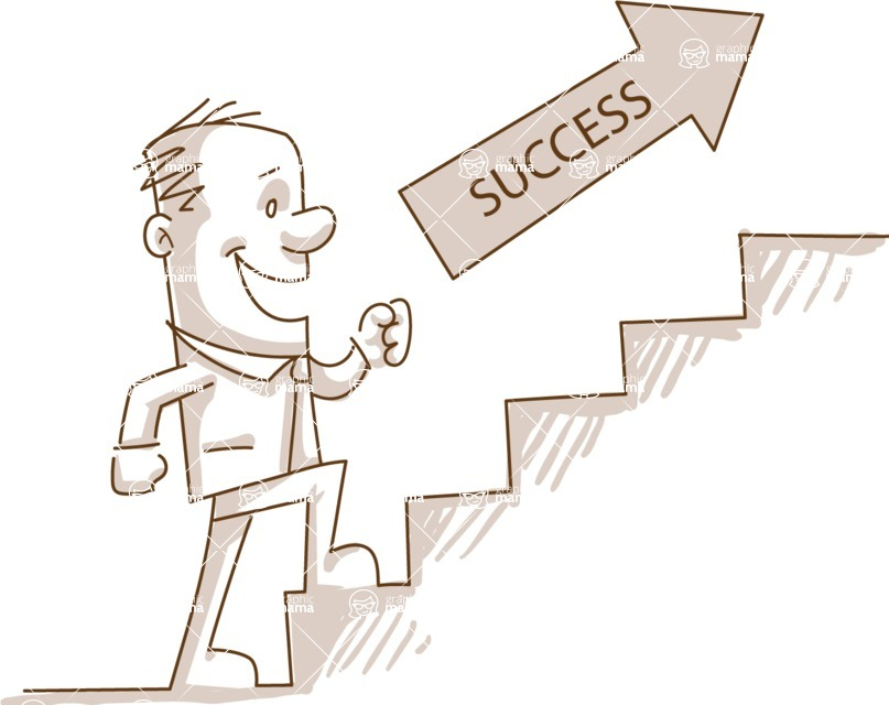 Business vector characters illustrated in the popular outline design trend - a rich collection from GraphicMama - Monochrome Man Climbing Stairs of Success
