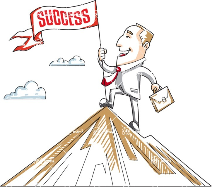 Business vector characters illustrated in the popular outline design trend - a rich collection from GraphicMama - Cartoon Businessman Conquering a Mountain