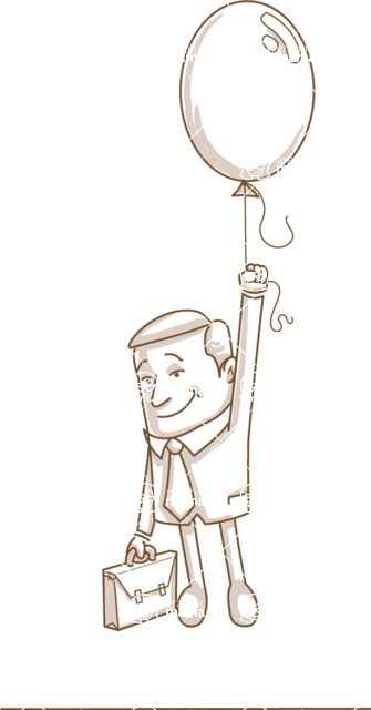 Business vector characters illustrated in the popular outline design trend - a rich collection from GraphicMama - Monochrome Businessman Flying with Balloon