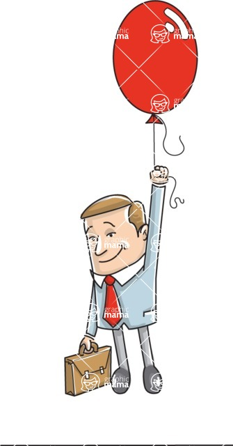 Business vector characters illustrated in the popular outline design trend - a rich collection from GraphicMama - Businessman Flying with Balloon Illustration
