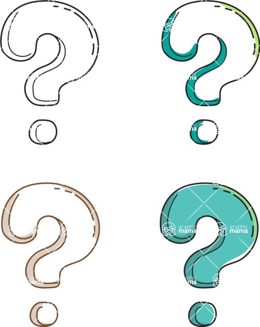 Business vector characters illustrated in the popular outline design trend - a rich collection from GraphicMama - Question Marks
