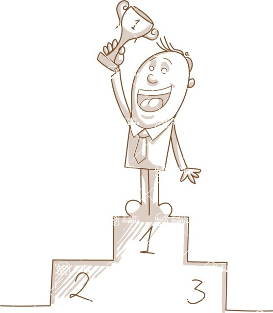 Business vector characters illustrated in the popular outline design trend - a rich collection from GraphicMama - Monochrome Businessman Winning a Trophy