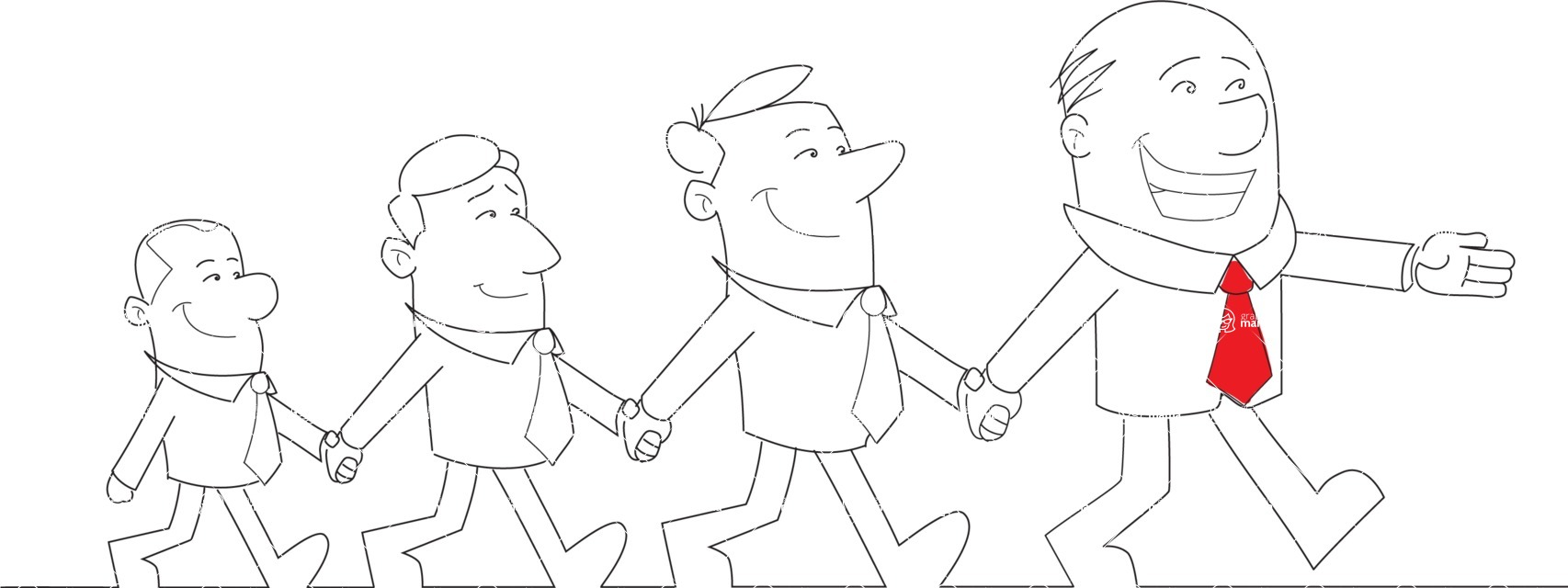 Business vector characters illustrated in the popular outline design trend - a rich collection from GraphicMama - Businessman Leading Team Holding Hands